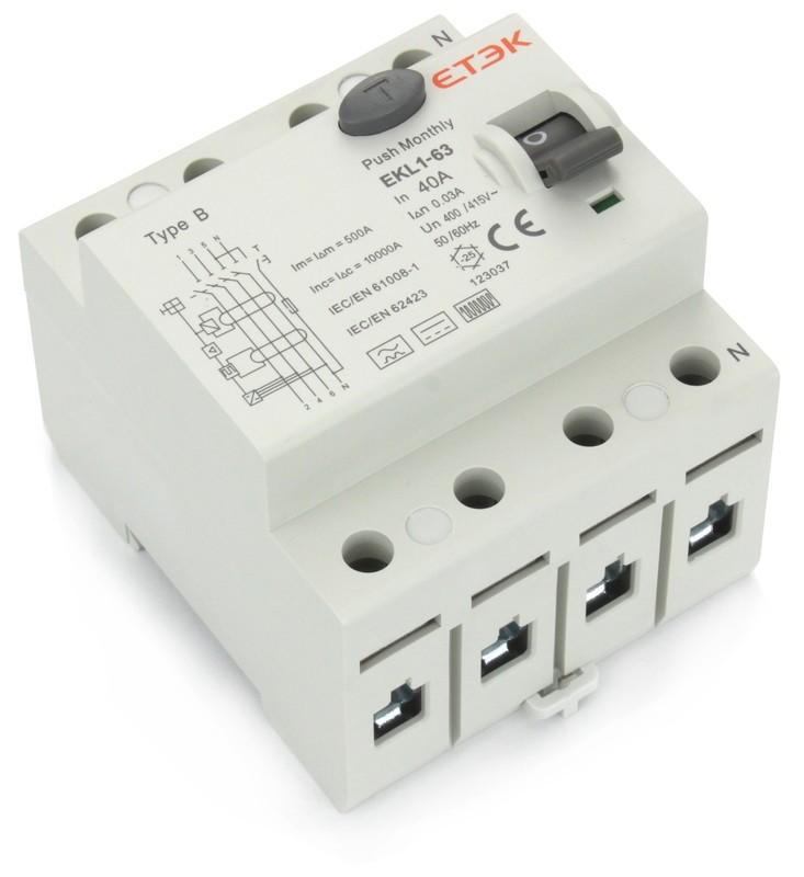 Fehlerstromschutzschalter Typ B, 4 Pol, 40A
