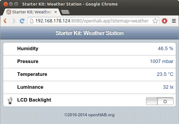 Starter Kit: Weather Station openHAB example screenshot